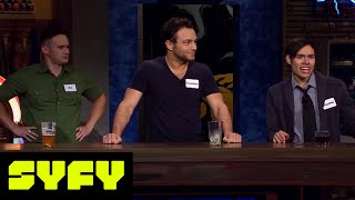 GEEKS WHO DRINK Clips  Jonathan Sadowski vs Lenny Jacobson in Naked Gold Men  SYFY