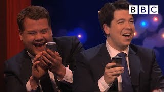 James Corden challenges Michael to play Send to All  The Michael McIntyre Chat Show  BBC