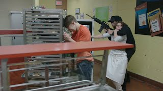 School Shooting  scene from 192 TV show one long take no cuts