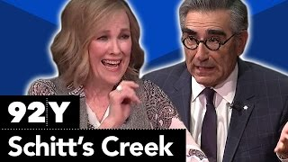 Schitts Creek Eugene Levy Catherine OHara Annie Murphy and Daniel Levy with Ophira Eisenberg